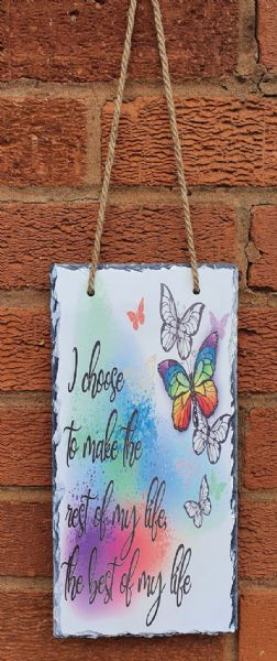 Rest Of My Life Butterfly Quote Hanging Photo Rock Slate